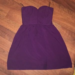 Dark purple strapless dress